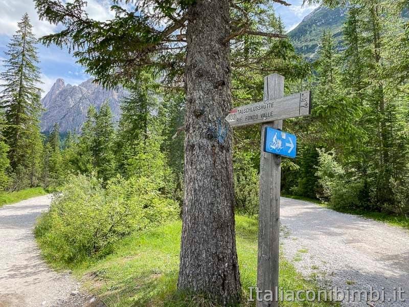 Val Fiscalina - doppio sentiero per biciclette e pedoni