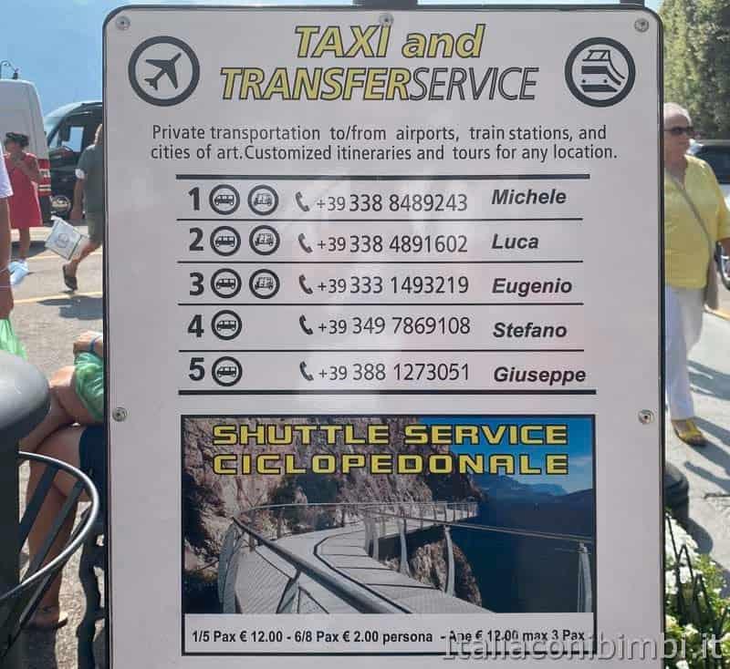 Limone del Garda - prezzi navetta taxi
